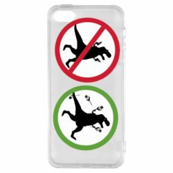 Чохол для iphone 5/5S/SE Sign with a dinosaur with a gun and flowers