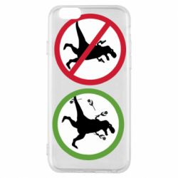 Чохол для iPhone 6/6S Sign with a dinosaur with a gun and flowers