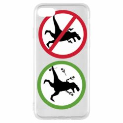 Чохол для iPhone 8 Sign with a dinosaur with a gun and flowers