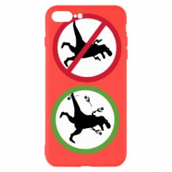 Чохол для iPhone 8 Plus Sign with a dinosaur with a gun and flowers