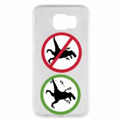 Чохол для Samsung S6 Sign with a dinosaur with a gun and flowers