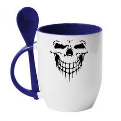 Кружка з керамічною ложкою Silhouette of a skull
