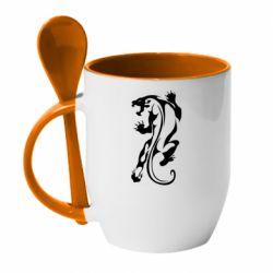 Кружка с керамической ложкой Silhouette of a tiger