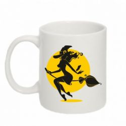 Кружка 320ml Silhouette of a witch on a broom