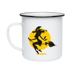 Кружка емальована Silhouette of a witch on a broom