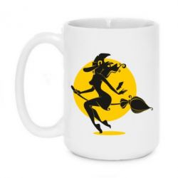 Кружка 420ml Silhouette of a witch on a broom