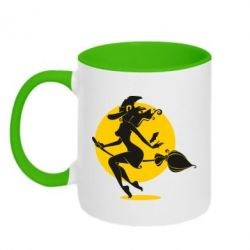 Кружка двоколірна 320ml Silhouette of a witch on a broom
