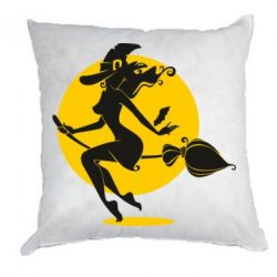 Подушка Silhouette of a witch on a broom