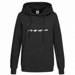 Женская толстовка Silhouette of hunting dogs