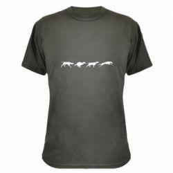 Камуфляжная футболка Silhouette of hunting dogs
