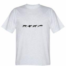 Мужская футболка Silhouette of hunting dogs