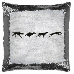 Подушка-хамелеон Silhouette of hunting dogs