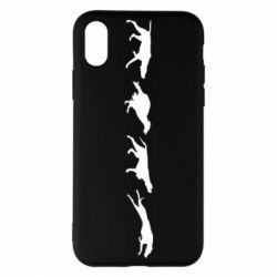 Чехол для iPhone X/Xs Silhouette of hunting dogs