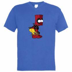 Чоловіча футболка з V-подібним вирізом Simpson Kiss my Ass Deadpool