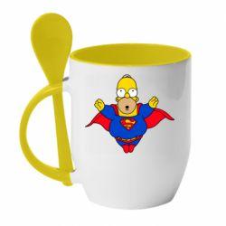 Кружка с керамической ложкой Simpson superman