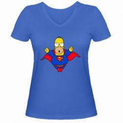 Женская футболка с V-образным вырезом Simpson superman