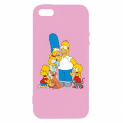 Купить Симпсоны, Чехол для iPhone5/5S/SE Simpsons Family, FatLine