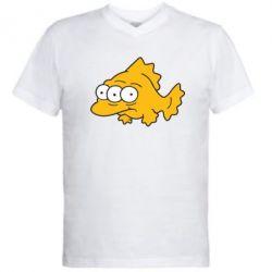 Мужская футболка  с V-образным вырезом Simpsons three eyed fish - FatLine
