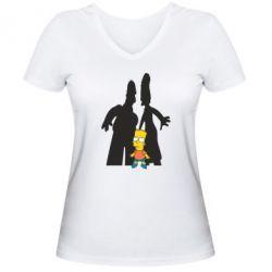 Женская футболка с V-образным вырезом Simpsons - FatLine
