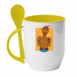Кружка з керамічною ложкою Singer Tupac Shakur