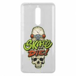 Чохол для Nokia 8 Skate or die skull - FatLine