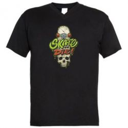 Чоловіча футболка з V-подібним вирізом Skate or die skull