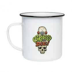 Кружка емальована Skate or die skull