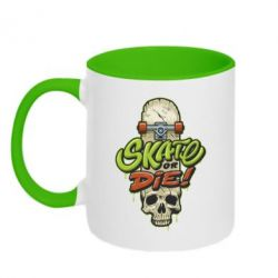 Кружка двоколірна 320ml Skate or die skull