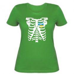 Женская футболка Скелет з сердцем Україна - FatLine
