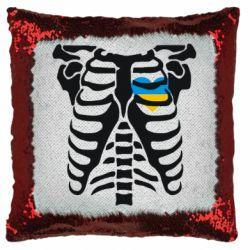 Подушка-хамелеон Скелет з серцем Україна