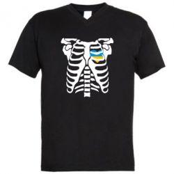 Мужская футболка  с V-образным вырезом Скелет з сердцем Україна - FatLine