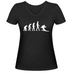 Женская футболка с V-образным вырезом Ski evolution