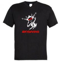 Мужская футболка  с V-образным вырезом Skidiving - FatLine