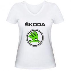 Женская футболка с V-образным вырезом Skoda Bird - FatLine