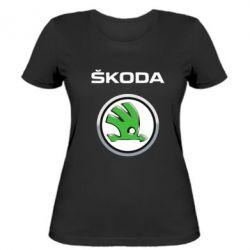 Женская футболка Skoda Logo 3D