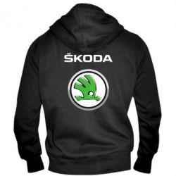Мужская толстовка на молнии Skoda Logo 3D