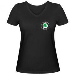 Женская футболка с V-образным вырезом Skoda Small - FatLine