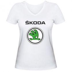 Женская футболка с V-образным вырезом Skoda - FatLine