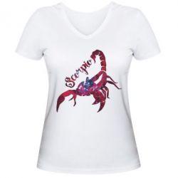 Женская футболка с V-образным вырезом Скорпион звезды