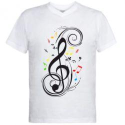 Мужская футболка  с V-образным вырезом Скрипичный ключ