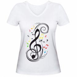 Женская футболка с V-образным вырезом Скрипичный ключ