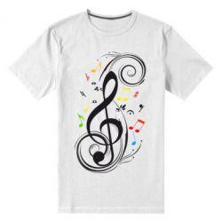 Мужская стрейчевая футболка Скрипичный ключ