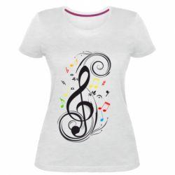 Женская стрейчевая футболка Скрипичный ключ