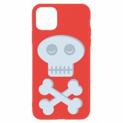 Чехол для iPhone 11 Skull and bones minimalism