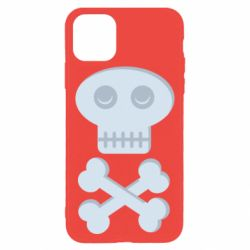 Чехол для iPhone 11 Pro Skull and bones minimalism