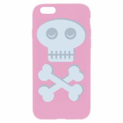 Чехол для iPhone 6 Plus/6S Plus Skull and bones minimalism