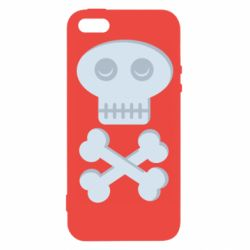 Чехол для iPhone5/5S/SE Skull and bones minimalism