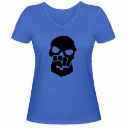 Женская футболка с V-образным вырезом Skull and Fist