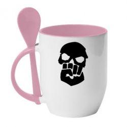 Кружка с керамической ложкой Skull and Fist