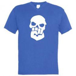 Мужская футболка  с V-образным вырезом Skull and Fist